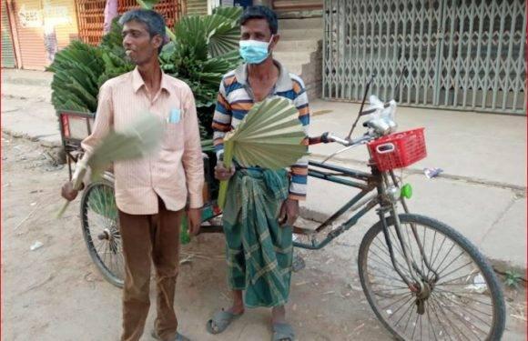 নওগাঁর মহাদেবপুরে গ্রাম বাংলার ঐতিহ্যবাহী তালপাতার হাতপাখা বিলুপ্তির পথে